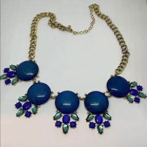Gold blue teal statement bib necklace
